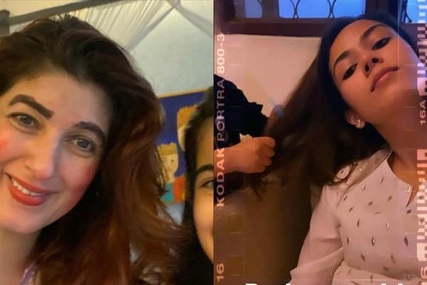 twinkle khanna mira rajput enjoy parlour session with kids