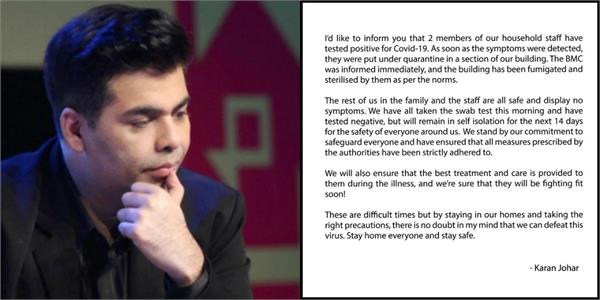 karan johar two staff members test positive for covid 19