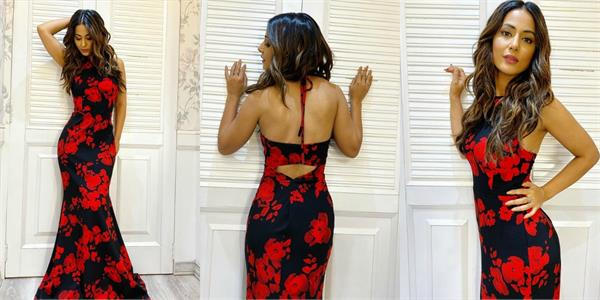 hina khan flaunt her curve figure in floral outfit