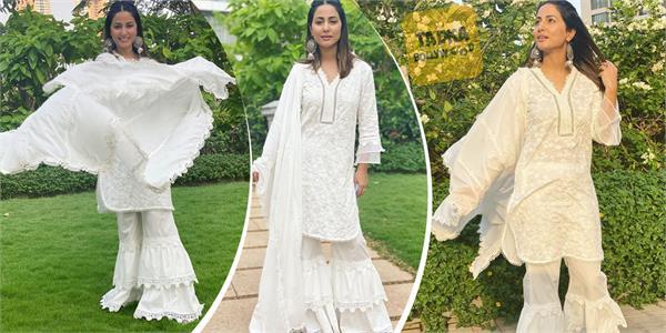 hina khan looks beautiful in plazoo suit
