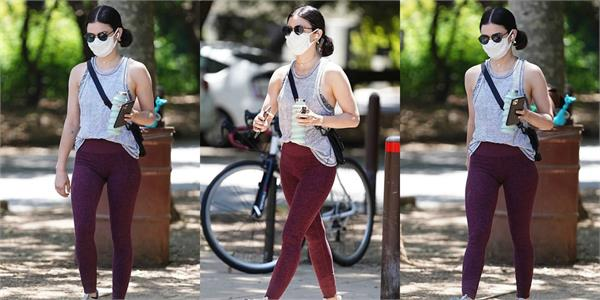 lucy hale spotted at los angeles for a workout
