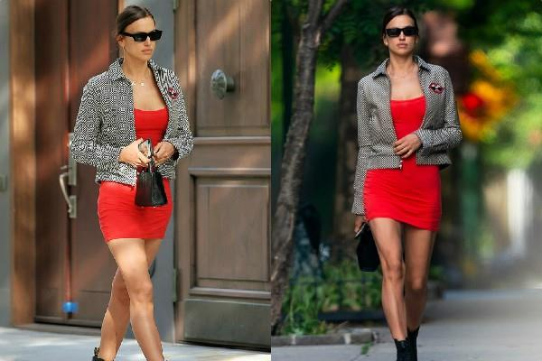 irina shayk looked stunning in red mini dress