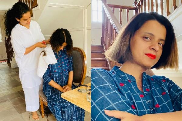 kangana ranaut become hairstylist for sister rangoli chandel