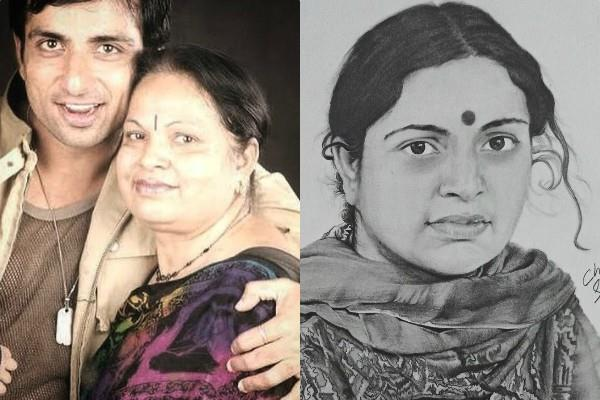 sonu sood thanks fan to make beautiful sketch of his mother