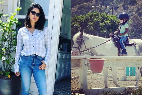 sunny leone learning her daughter nisha first horse riding lesson