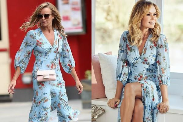 amanda holden looks stylish as she spotted outisde the radio studio