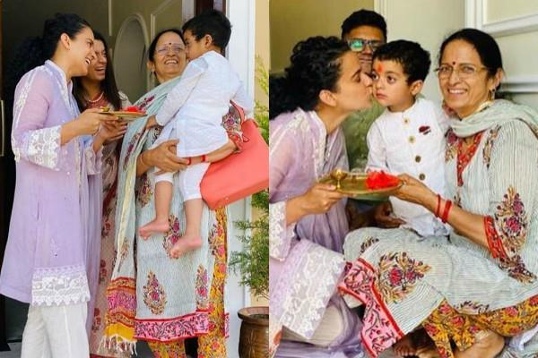 kangana ranaut welcomed her nephew prithviraj when he came home first time