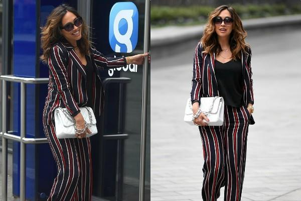 myleene klass looks incredibly stylish as she spotted global radio studios