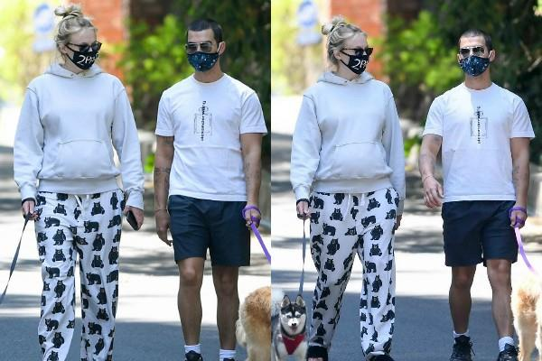 pregnant sophie turner goes for walk with hubby joe jonas