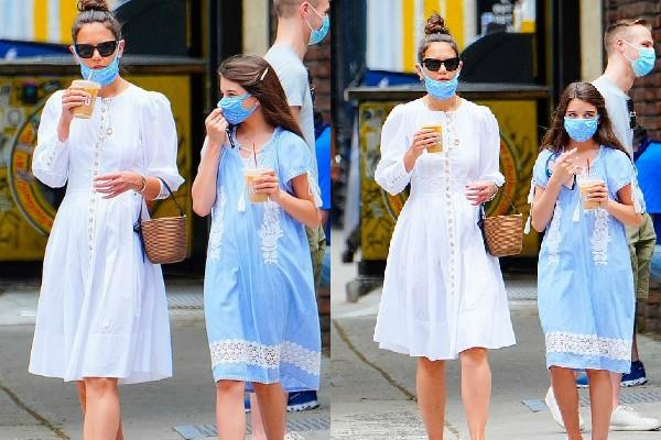 katie holmes spotted outside the coffee shop with daughter suri