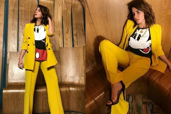kirti kulhari looks bossy in yellow suit pants picture
