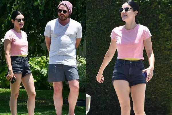 lucy hale spotted with her friend during outing