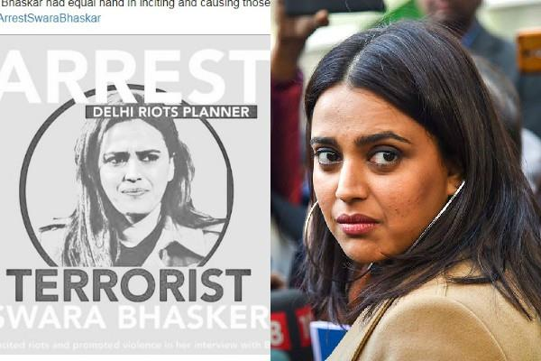 arrest demands on twitter against swara bhaskar