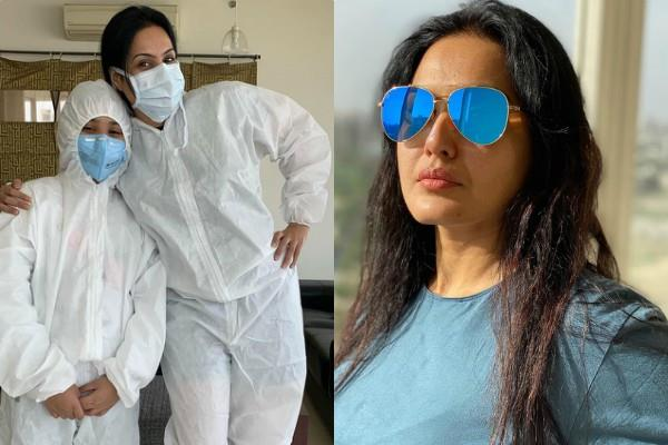 kamya punjabi in working mode shares a mask and ppe wear photo