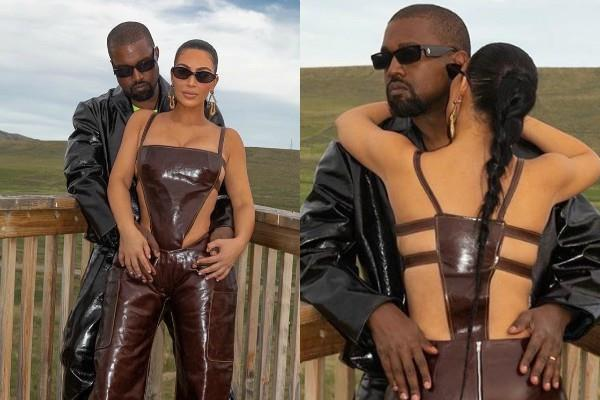 kim kardashian looks stunning as she poses with hubby kanye west