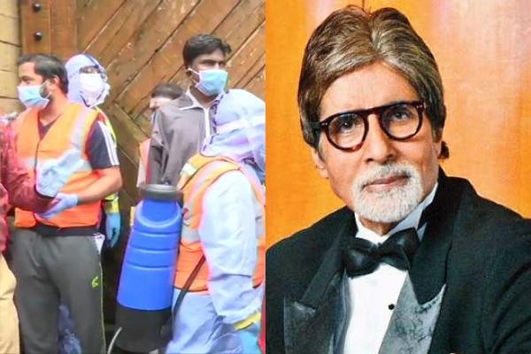 bmc workers arrive to sanitize amitabh bachchan residence