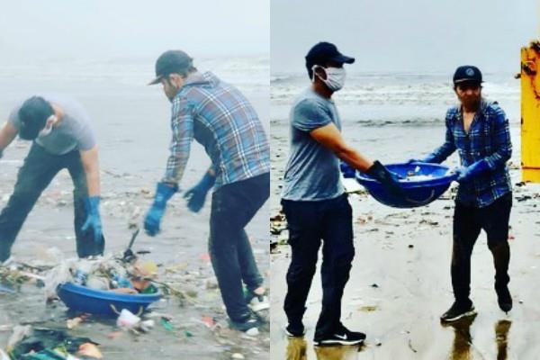 randeep hooda cleans versova beach in rain