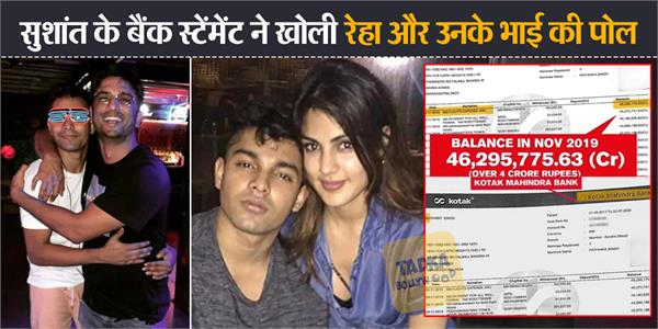 sushant bank statement accessed shows huge transaction for rhea and her brother