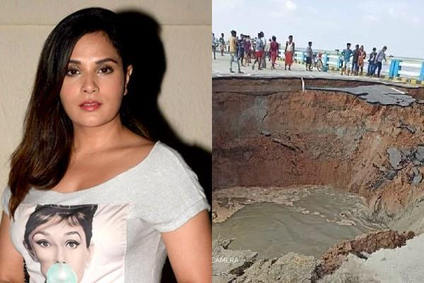 richa chadda reacts when bihar s bridge destroyed in just 29 days