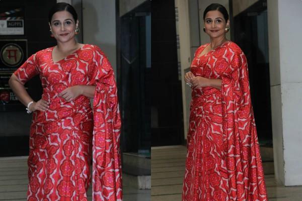 vidya balan looked stunning in red saree