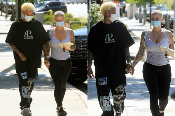 amber rose and boyfriend alexander spotted together in hold hands