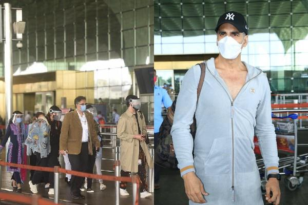 akshay kumar left for london with cast of film bell bottom