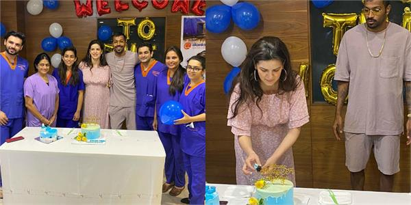hardik pandya and natasa stankovic shares photos of celebration with staff