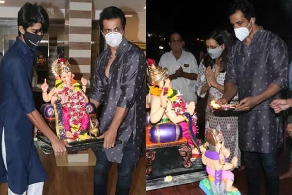 sonu sood ganpati visarjan with family