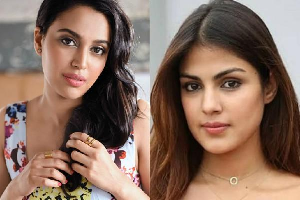 swara bhaskar trolled for support of rhea chakraborty