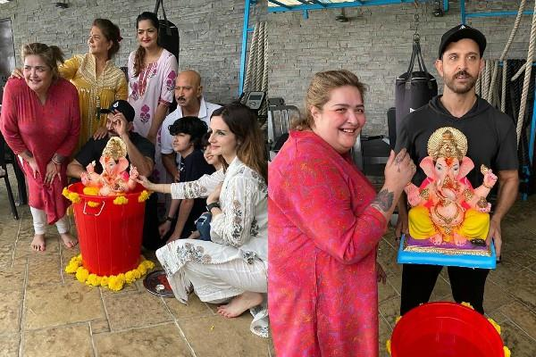 hrithik doing ganpati visarjan with family and ex wife sussanne photos viral
