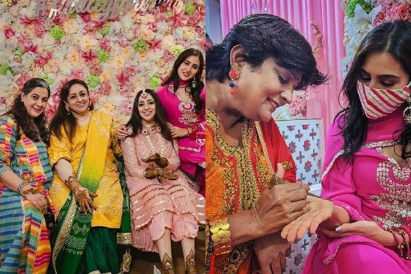 sara ali khan attend jp dutta daughter mehendi function with mom amrita singh