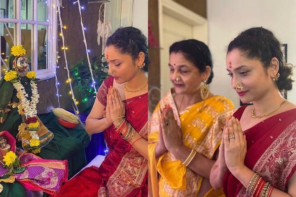 ankita lokhande performs gauri ganpati puja with mother