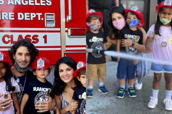 sunny leone gave fire training to children pictures viral on social media