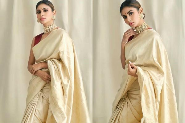mouni roy beautiful saree look photos viral