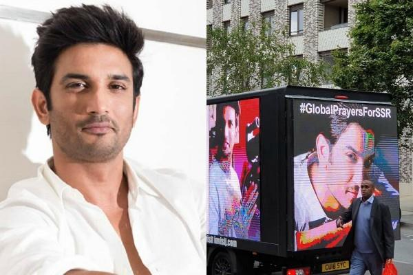 justice demands for sushant in london photos viral