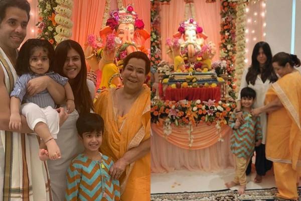 tusshar kapoor ekta kapoor ganesh utsav celebration with family