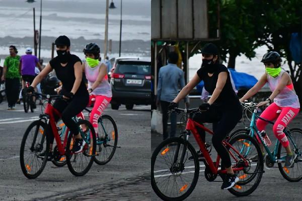 katrina kaif spotted cycling mumbai streets