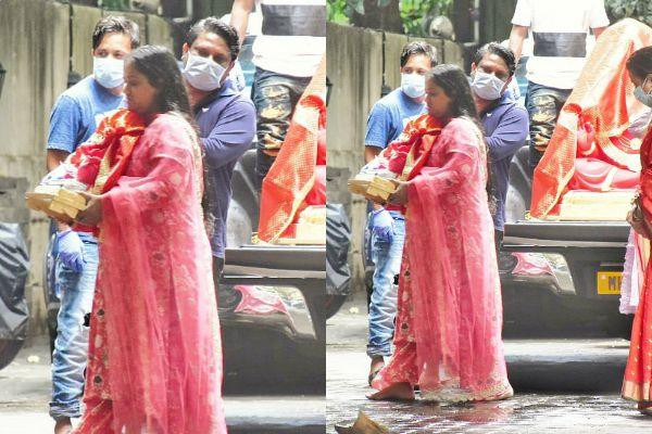 arpita reached brother sohail khan house with ganpati pratima