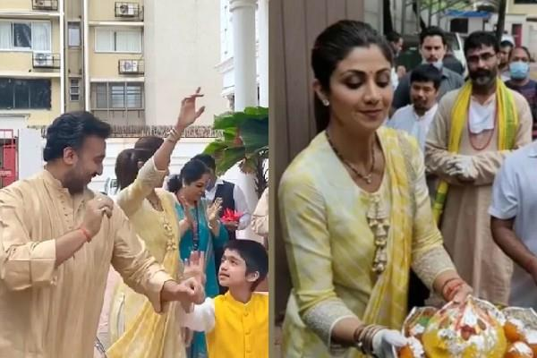 shilpa shetty dance in ganpati visarjan with husband and son