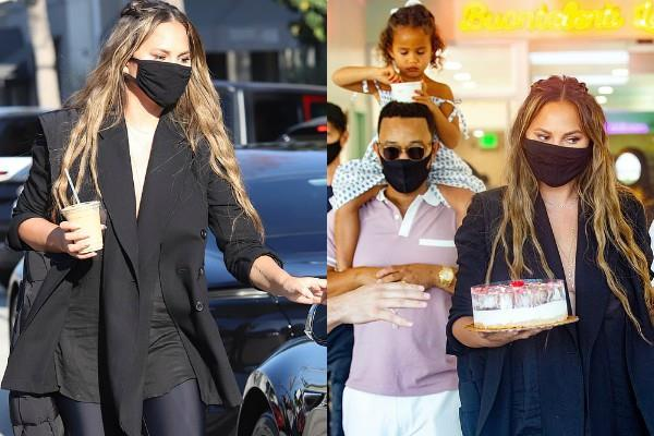 chrissy teigen spotted with husband john outside the restaurant