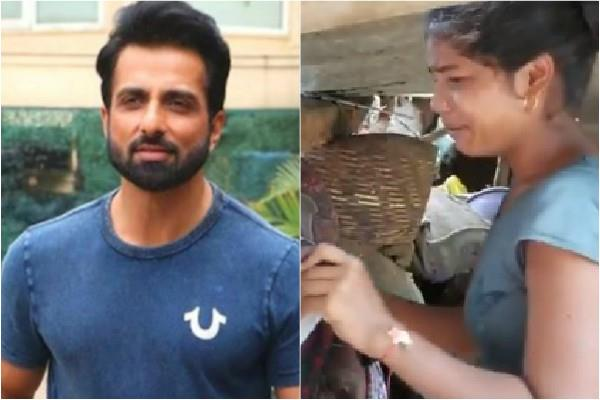 sonu sood provide help for girl who lost house and book in flood