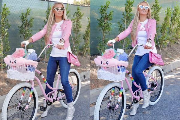 paris hilton cycle riding pics viral