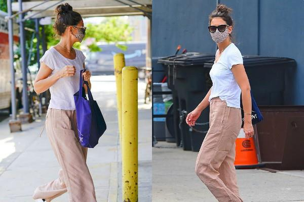 katie holmes looked cool in casual outfit