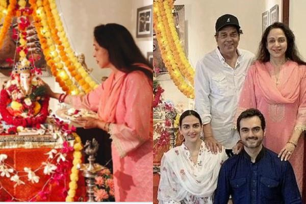 hema malini doing ganpati visarjan with family
