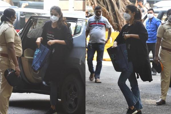 rhea chakraborty arrives at ncb office to give statement