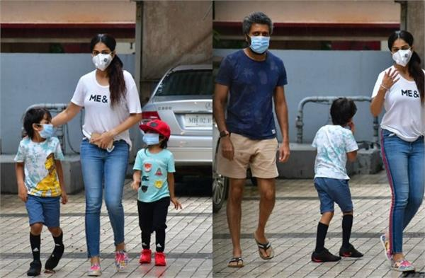 genelia d souza outing with riteish deshmukh and her kids