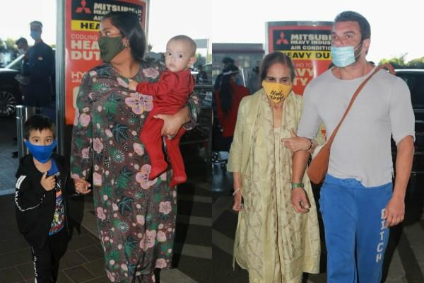 arpita khan with kids and sohail khan with mother salma spotted at airport