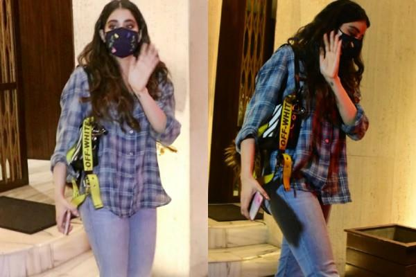 janhvi kapoor spotted at manish malhotra house