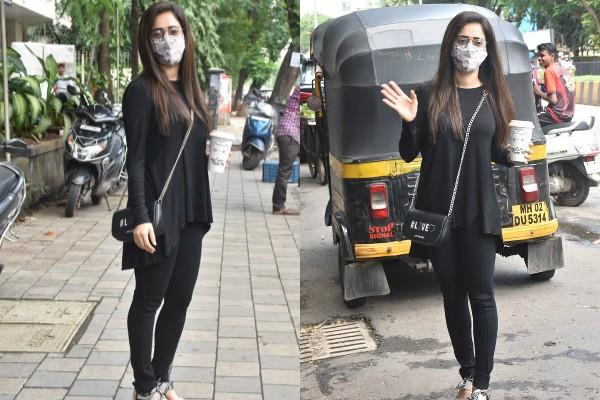 nushrat bharucha spotted outside coffee shop at andheri
