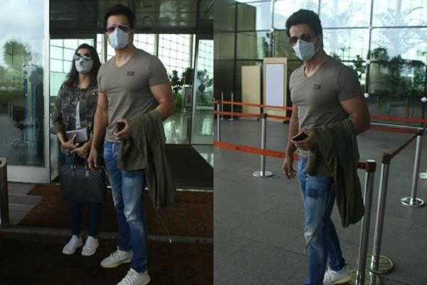 sonu sood spotted at mumbai airport with wife sonali
